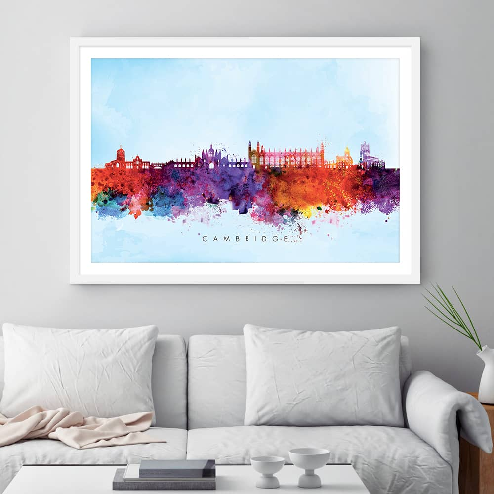 cambridge skyline blue wash watercolor print framed