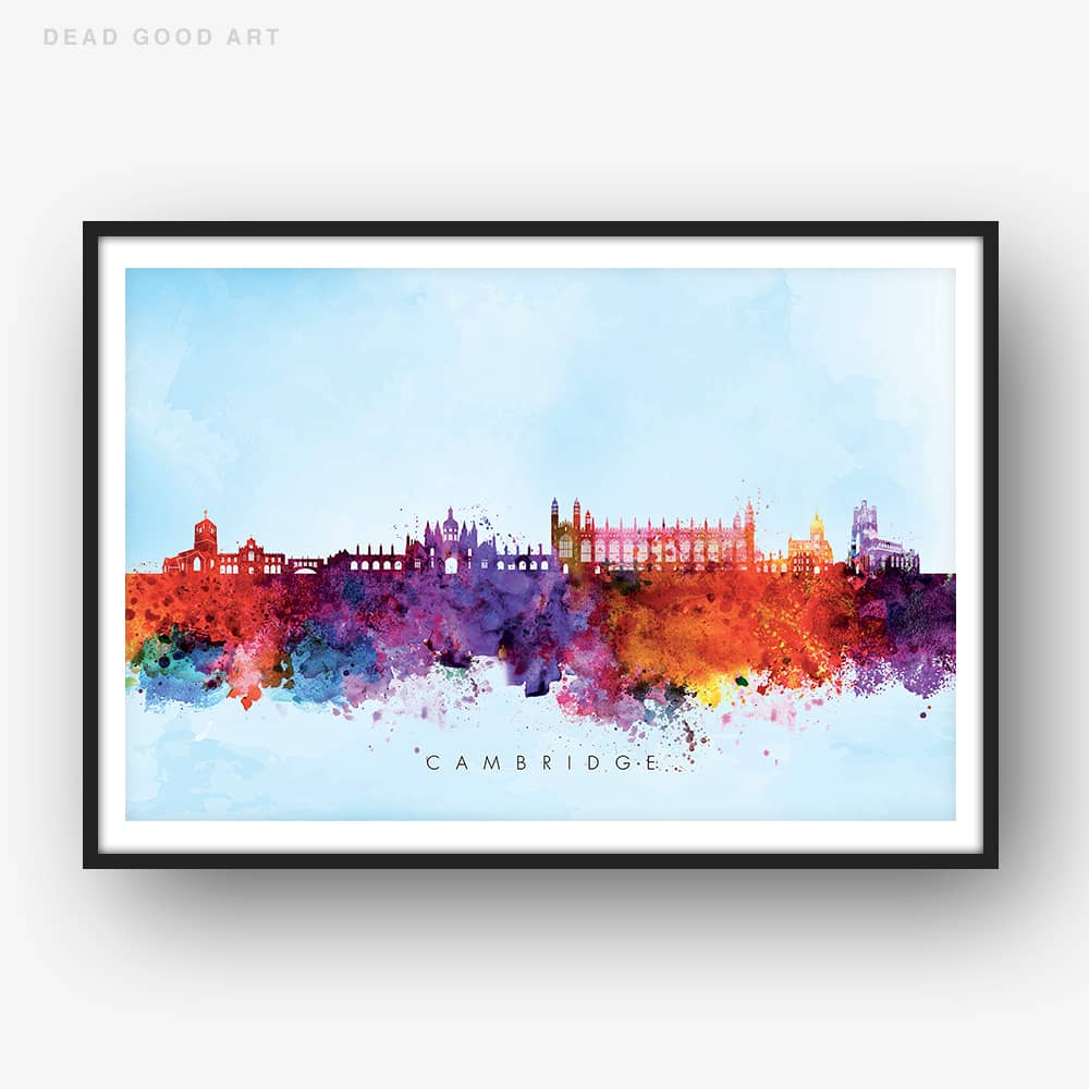 cambridge skyline blue wash watercolor print