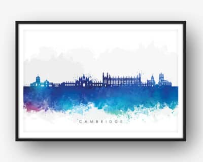 cambridge skyline blue watercolor print