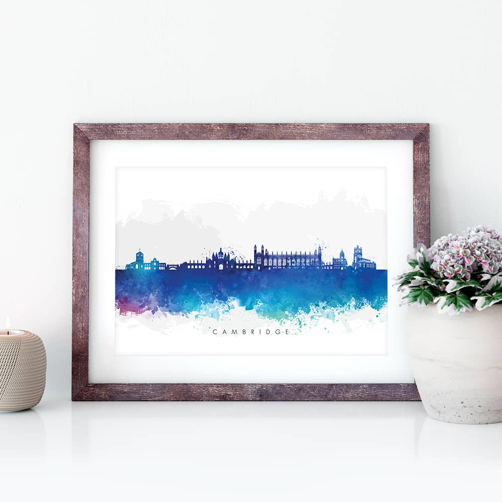 cambridge skyline blue watercolor print closeup