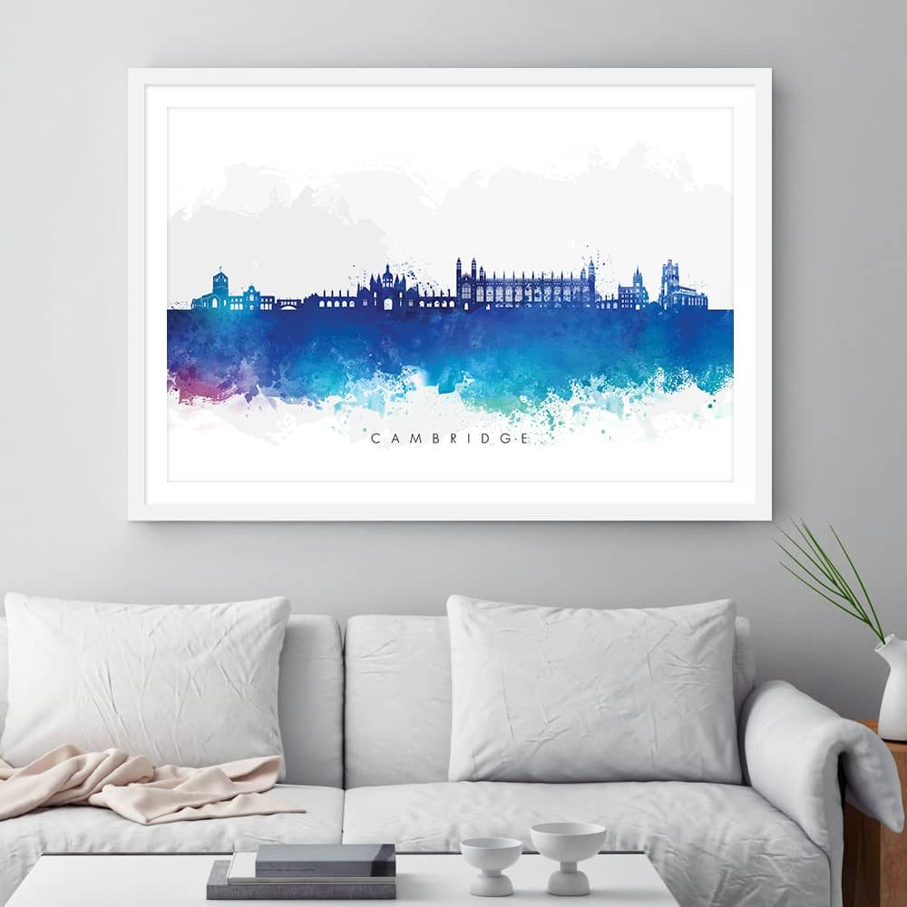 cambridge skyline blue watercolor print framed