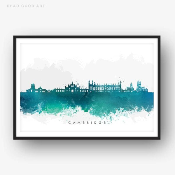 cambridge skyline green watercolor print