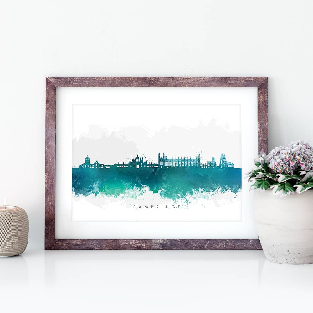 cambridge skyline green watercolor print closeup
