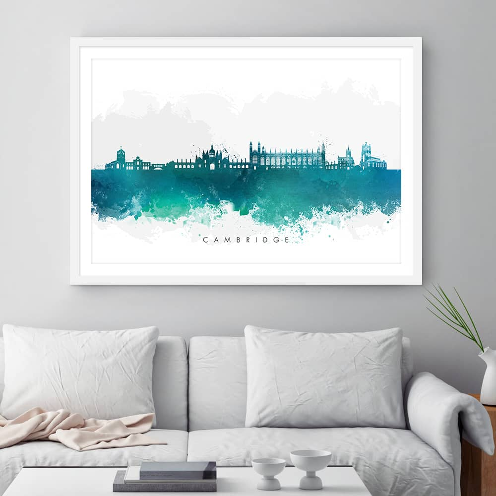 cambridge skyline green watercolor print framed