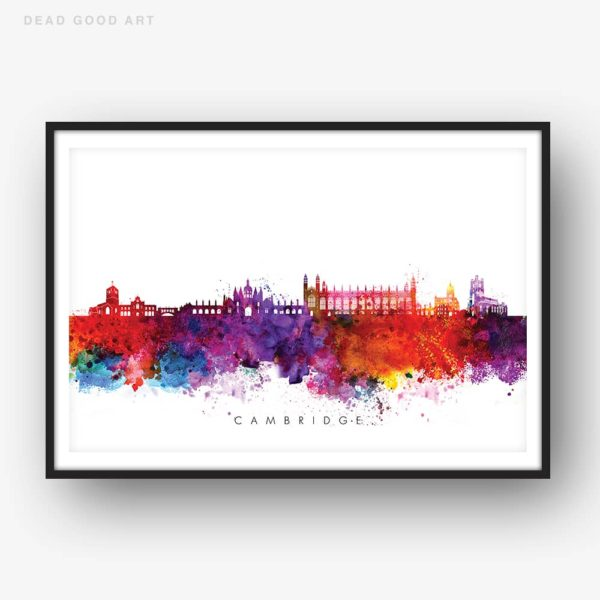 cambridge skyline multi color watercolor print