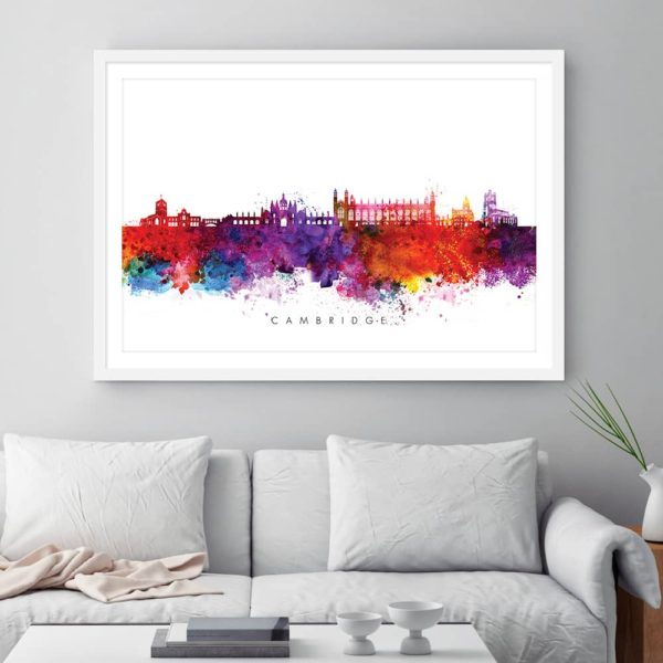cambridge skyline multi color watercolor print framed