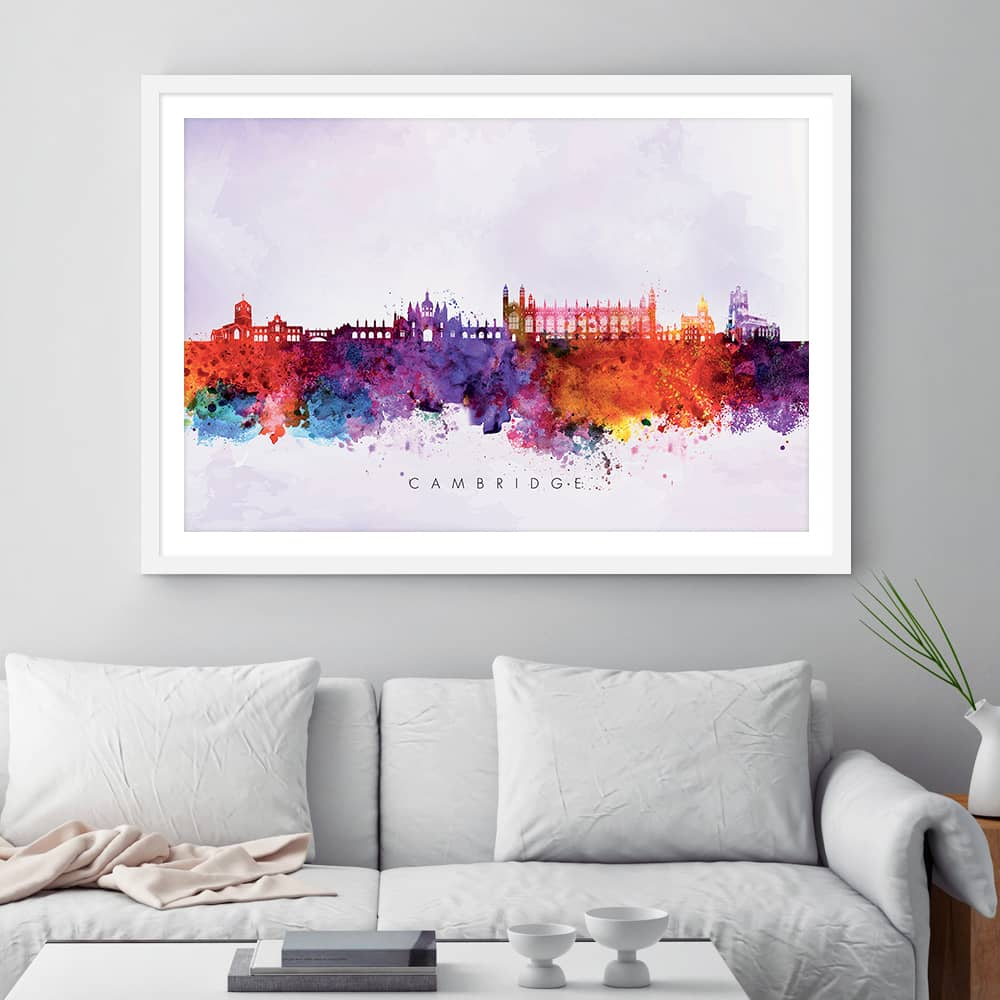 cambridge skyline purple wash watercolor print framed