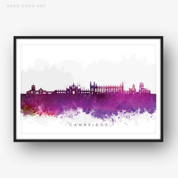 cambridge skyline purple watercolor print