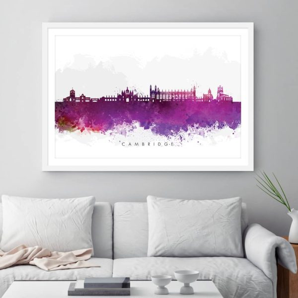 cambridge skyline purple watercolor print framed
