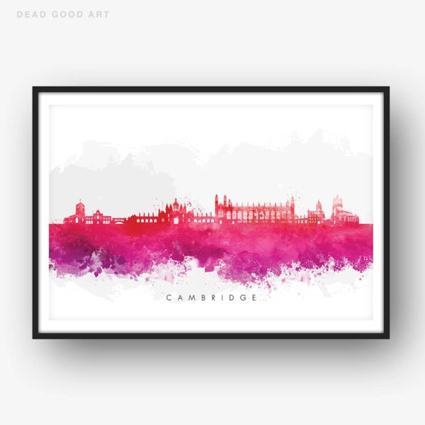 cambridge skyline red watercolor print