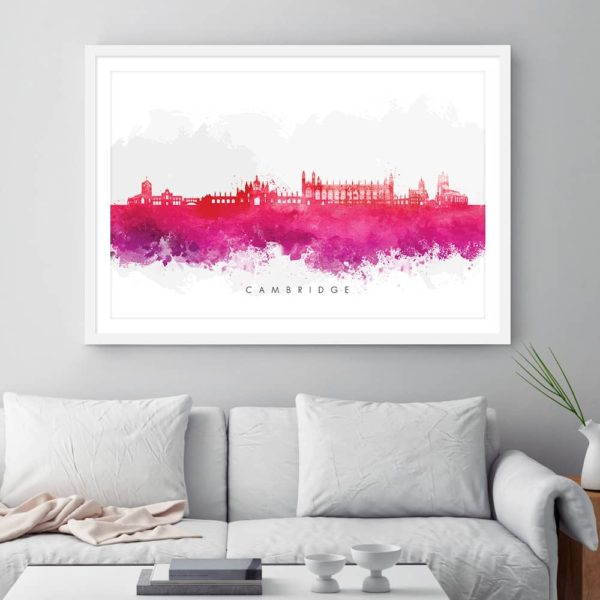 cambridge skyline red watercolor print framed