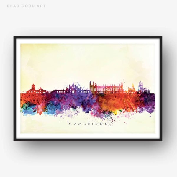 cambridge skyline yellow wash watercolor print