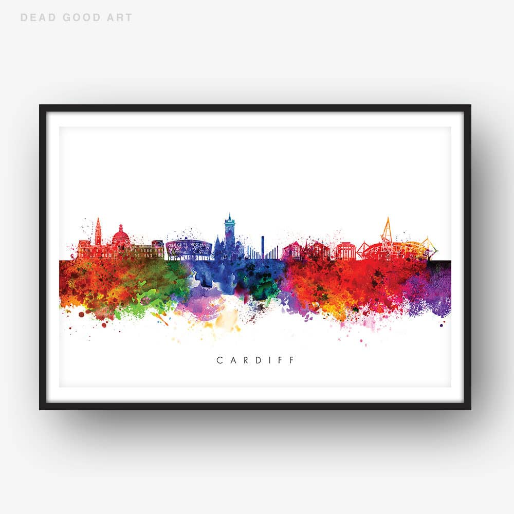 cardiff skyline multi color watercolor print