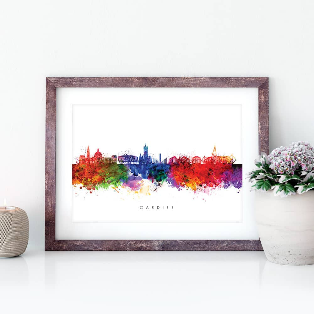 cardiff skyline multi color watercolor print closeup