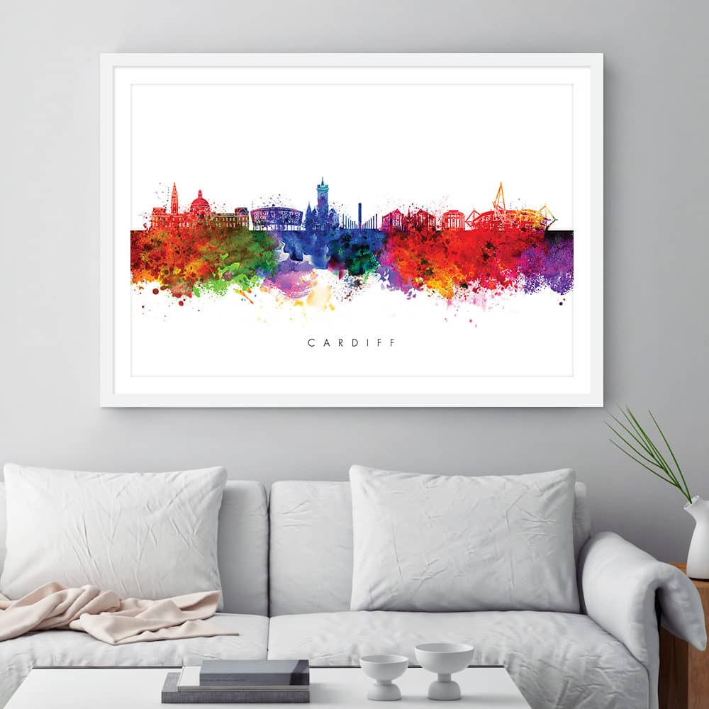 cardiff skyline multi color watercolor print framed