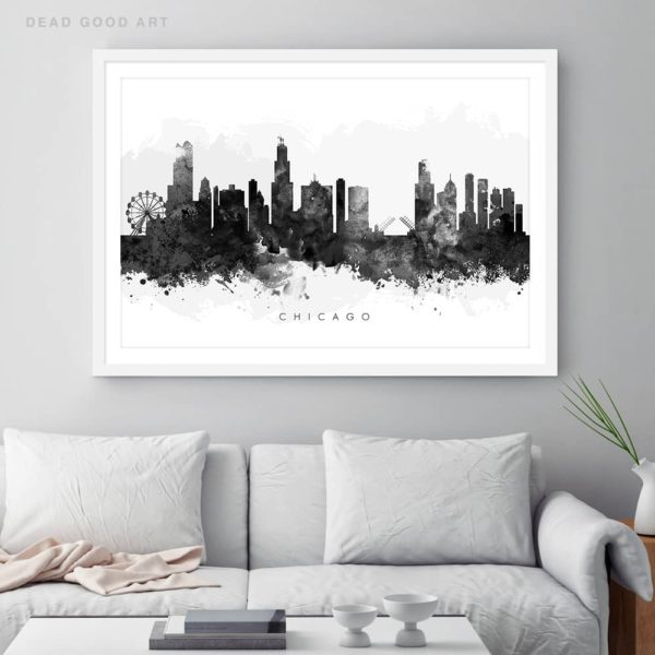chicago skyline black white watercolor print framed