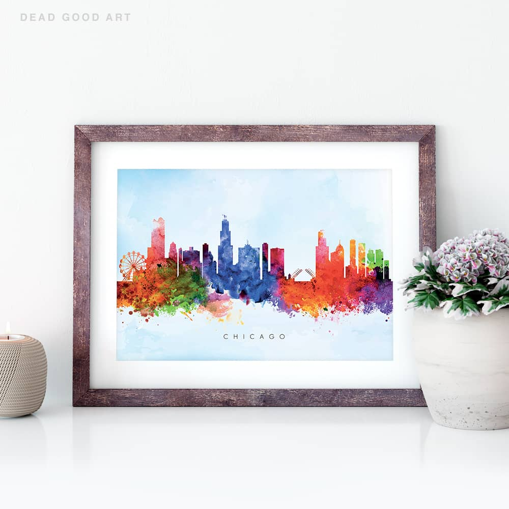 chicago skyline blue wash watercolor print closeup