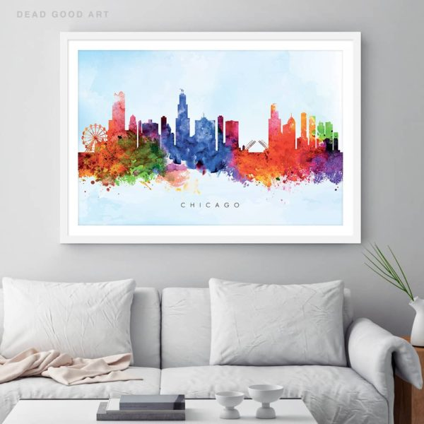 chicago skyline blue wash watercolor print framed