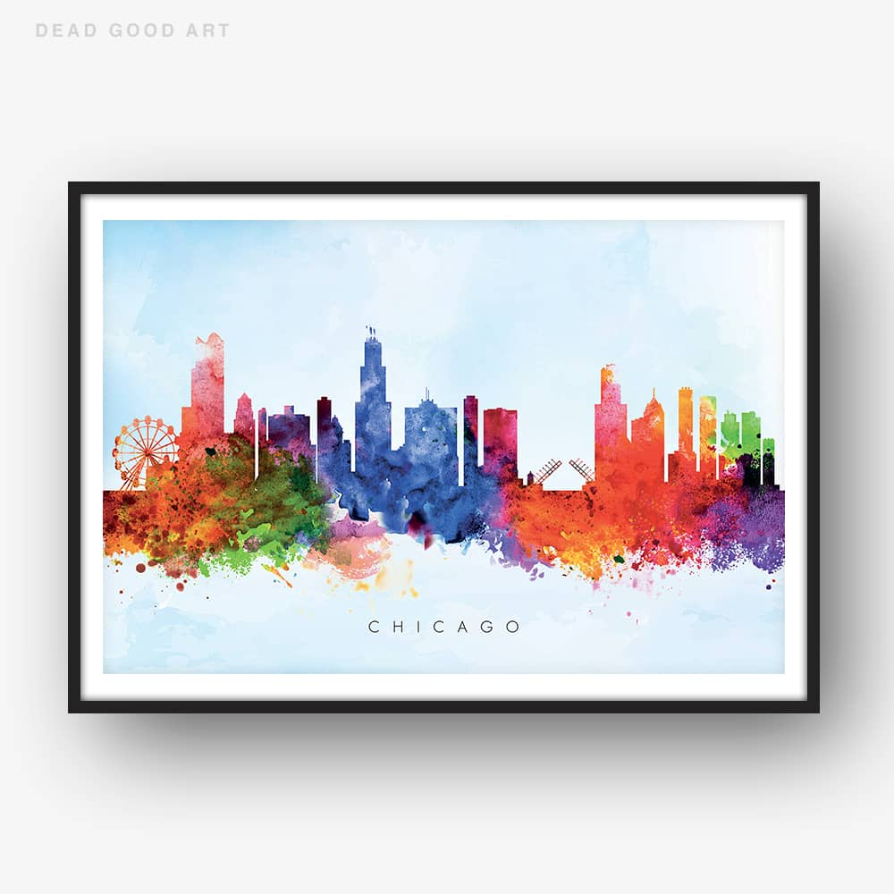 chicago skyline blue wash watercolor print