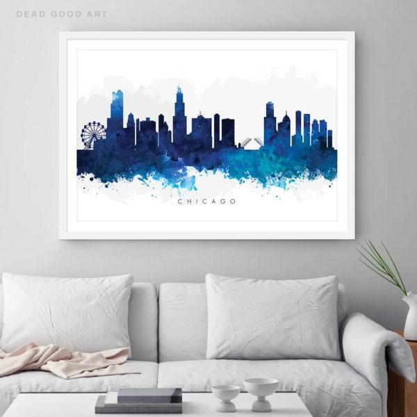 chicago skyline blue watercolor print framed