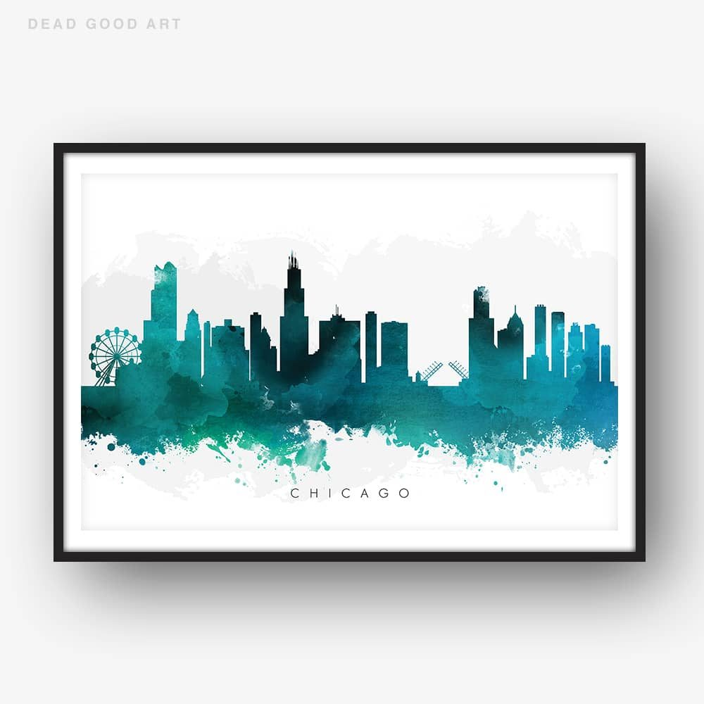 chicago skyline green watercolor print
