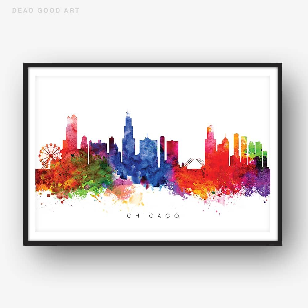 chicago skyline multi color watercolor print