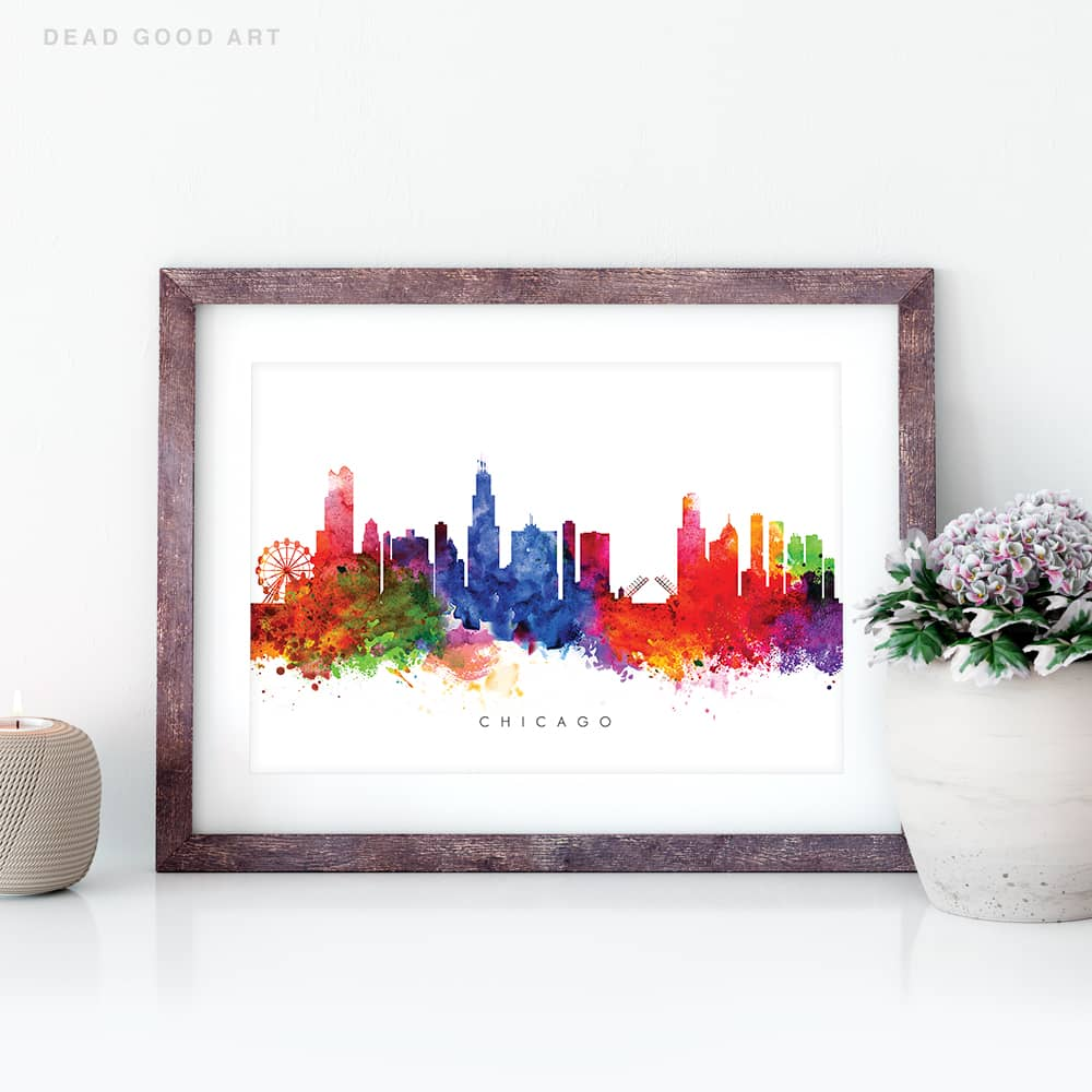 chicago skyline multi color watercolor print closeup