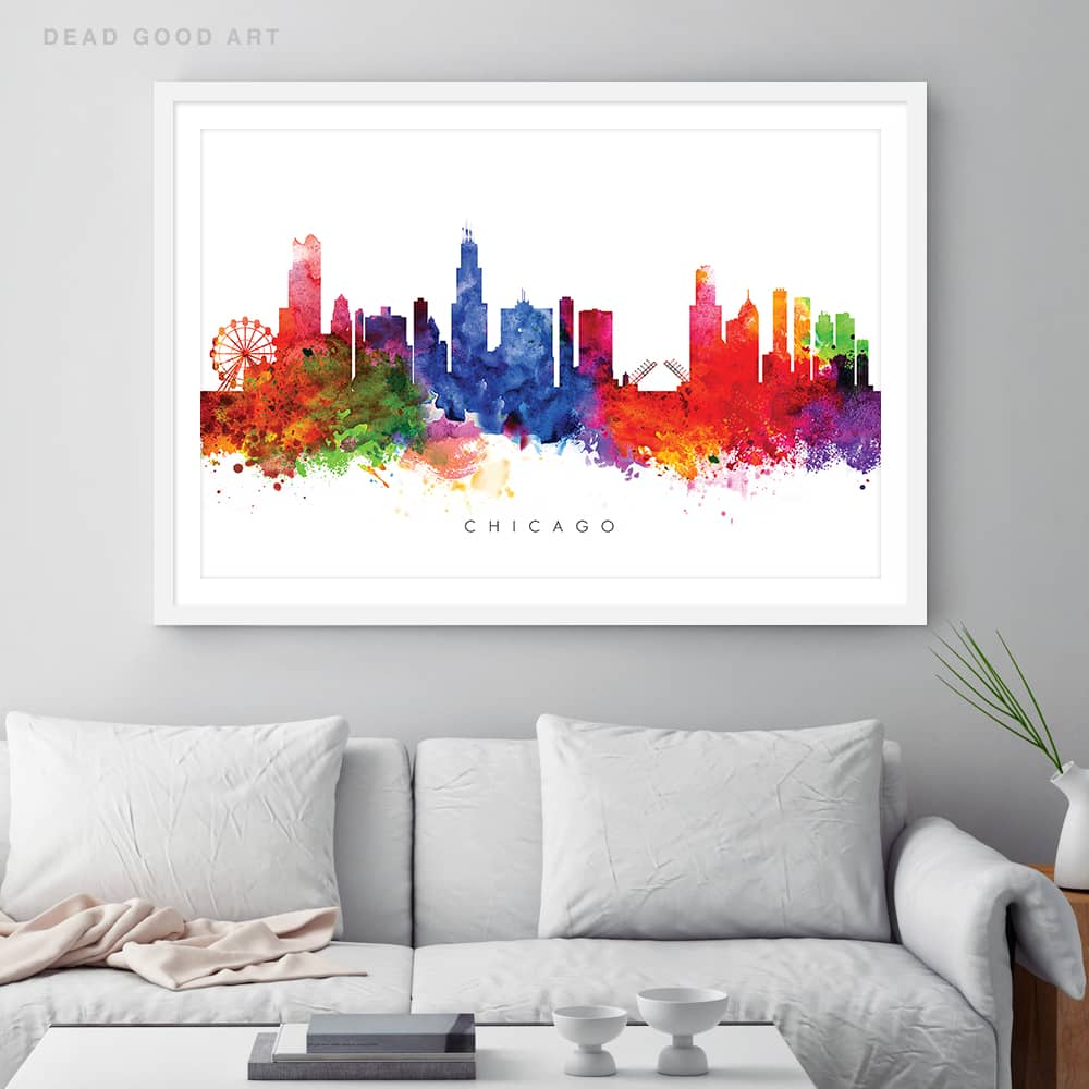 chicago skyline multi color watercolor print framed