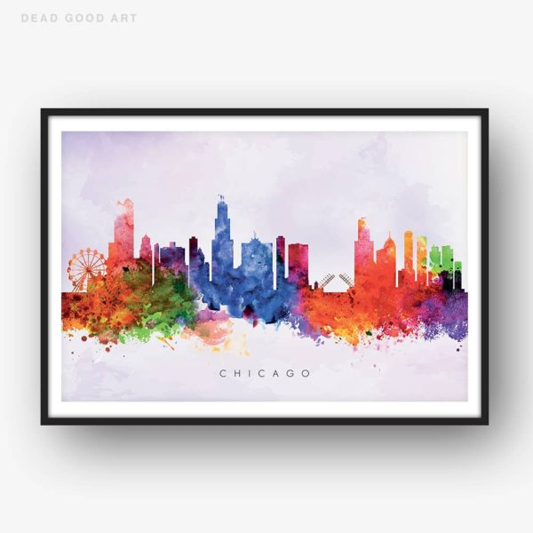 chicago skyline purple wash watercolor print
