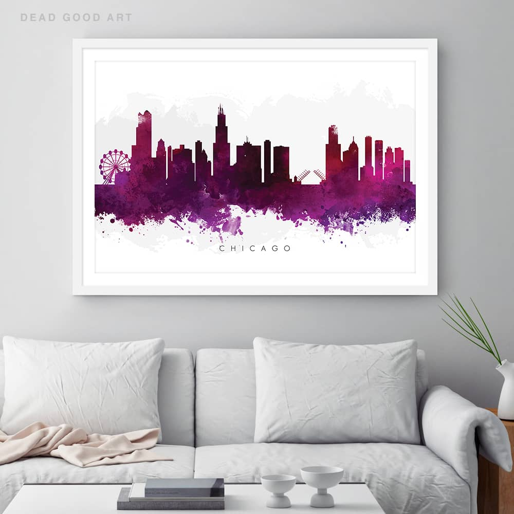 chicago skyline purple watercolor print framed