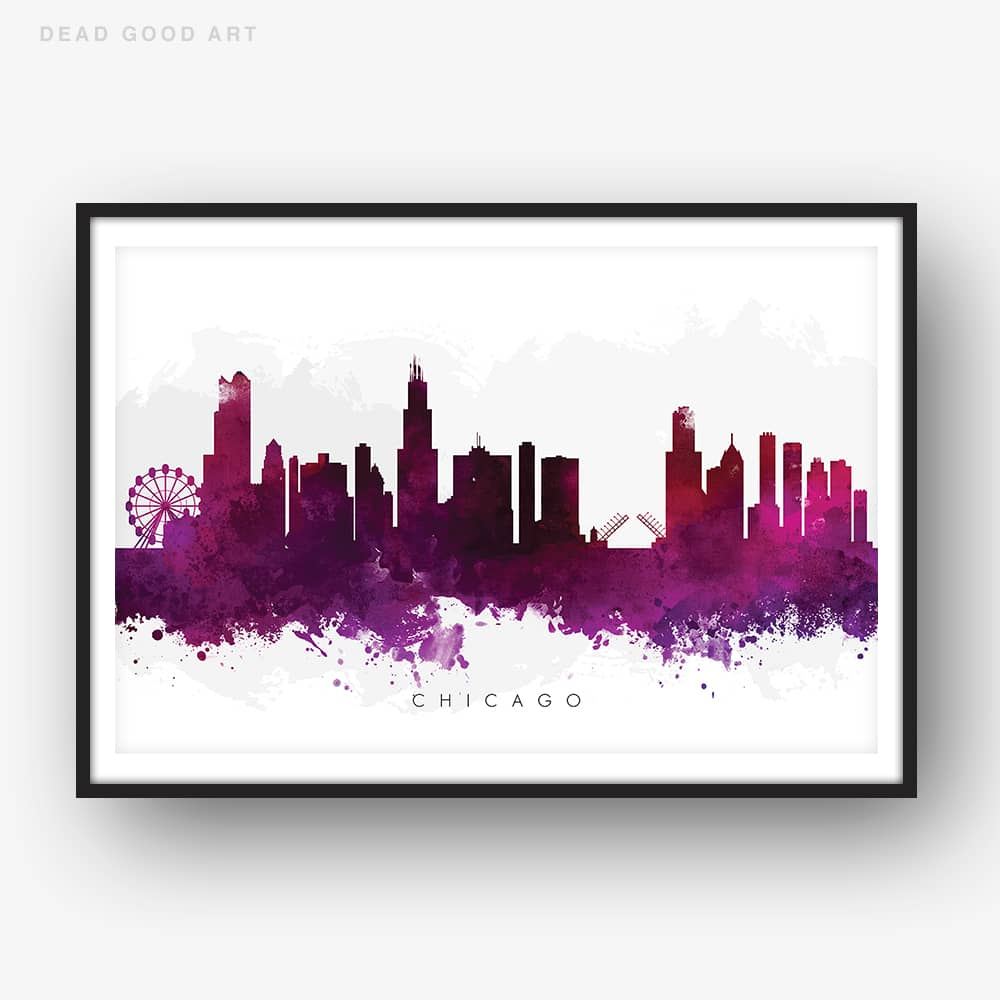 chicago skyline purple watercolor print