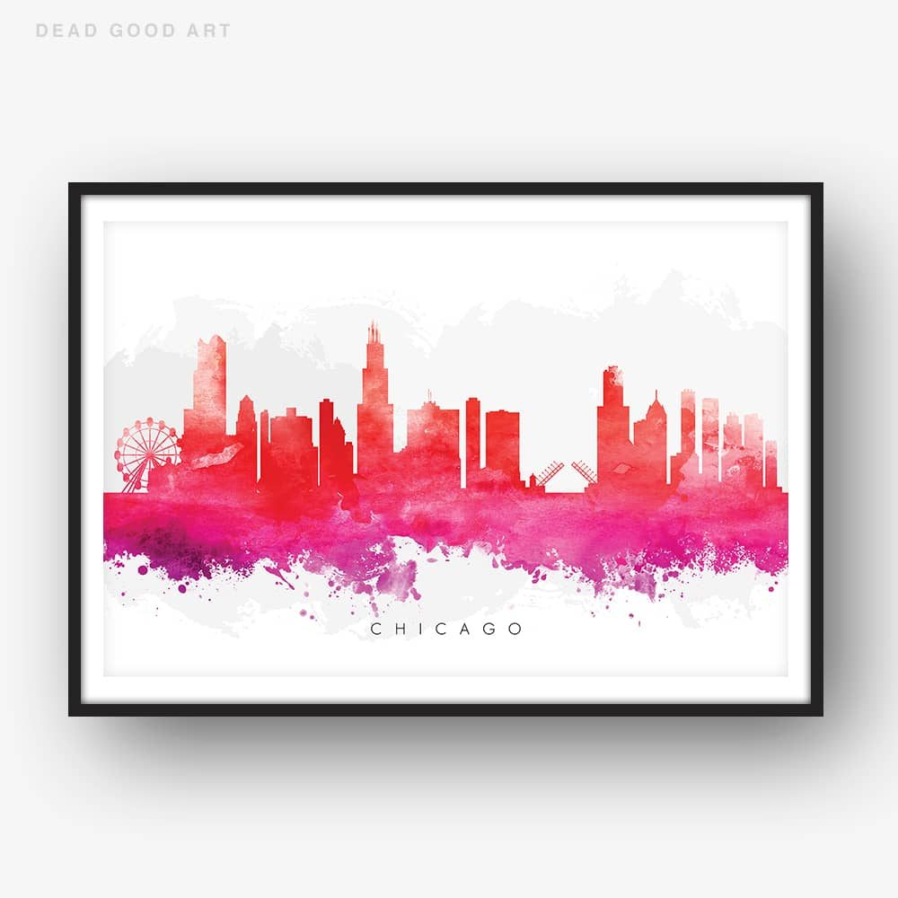 chicago skyline red watercolor print