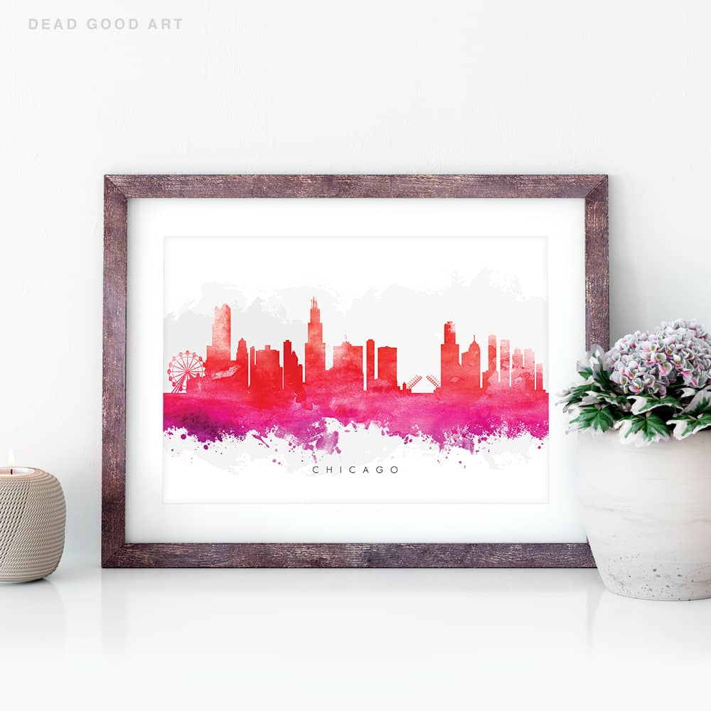 chicago skyline red watercolor print closeup
