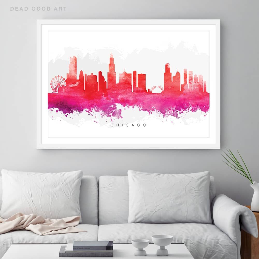 chicago skyline red watercolor print framed