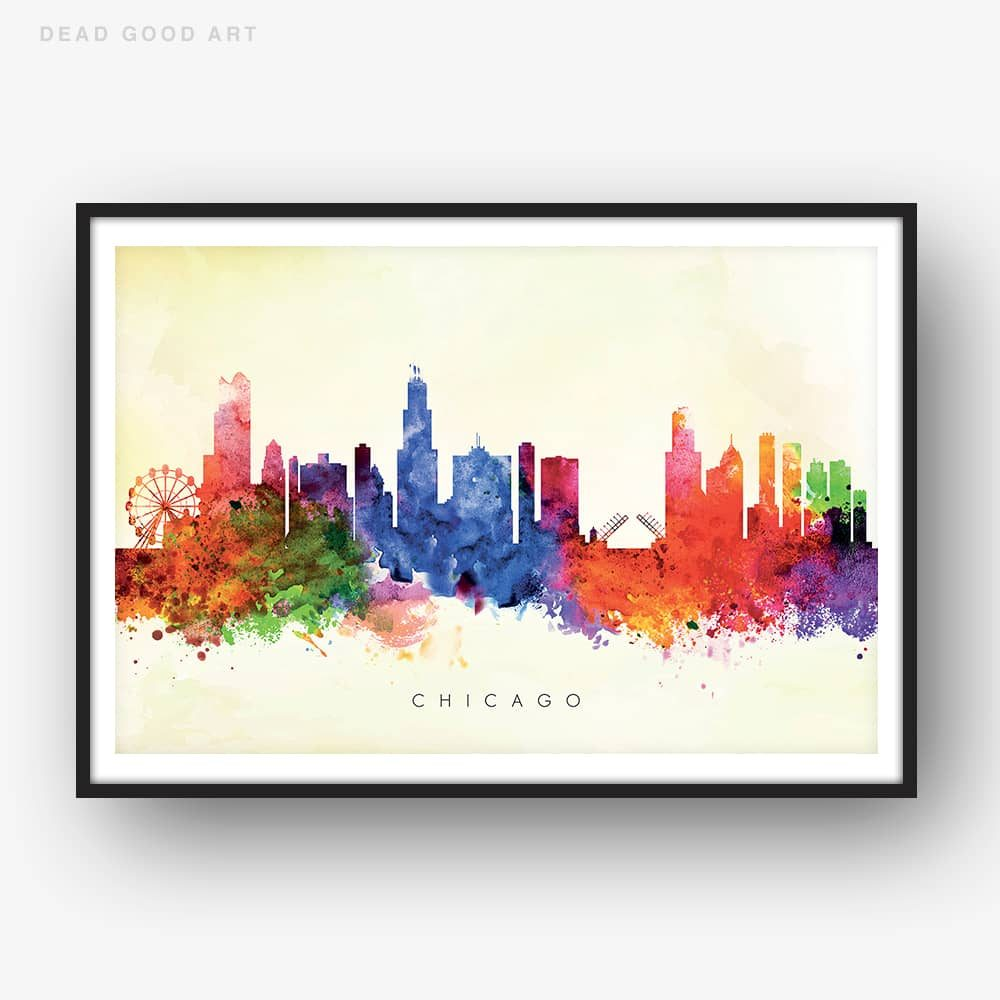 chicago skyline yellow wash watercolor print