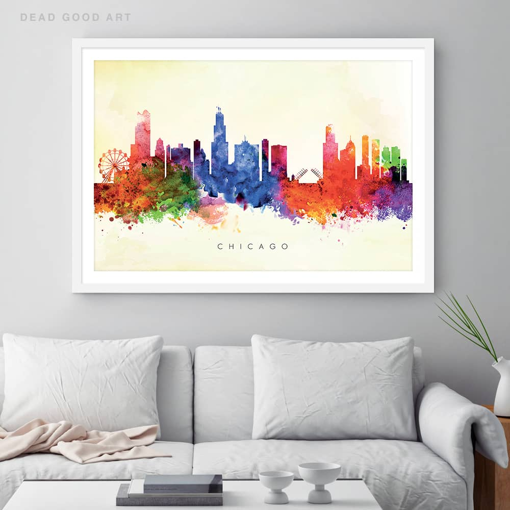 chicago skyline yellow wash watercolor print framed