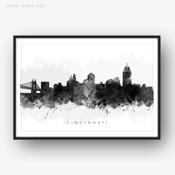 cincinnati skyline black white watercolor print