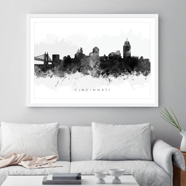 cincinnati skyline black white watercolor print framed