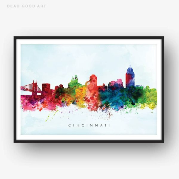cincinnati skyline blue wash watercolor print