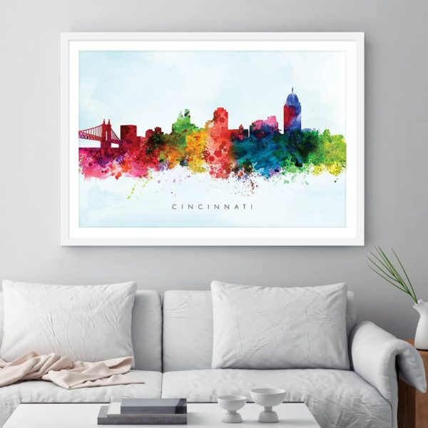 cincinnati skyline blue wash watercolor print framed
