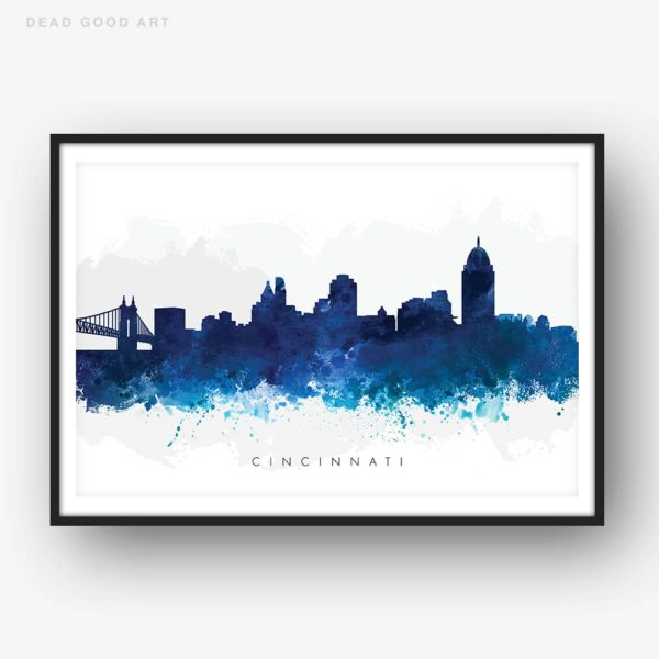 cincinnati skyline blue watercolor print