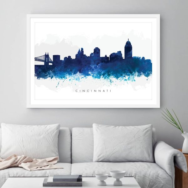 cincinnati skyline blue watercolor print framed