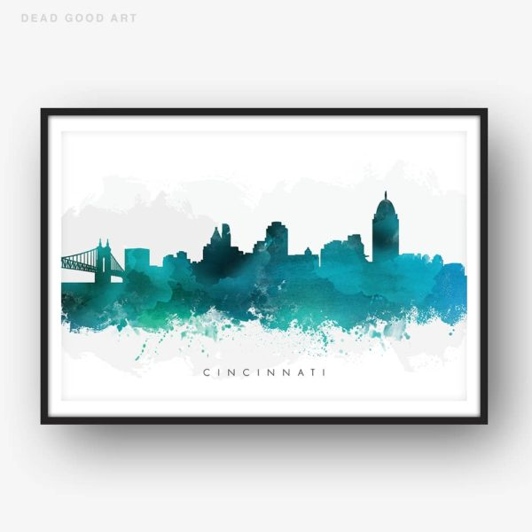 cincinnati skyline green watercolor print