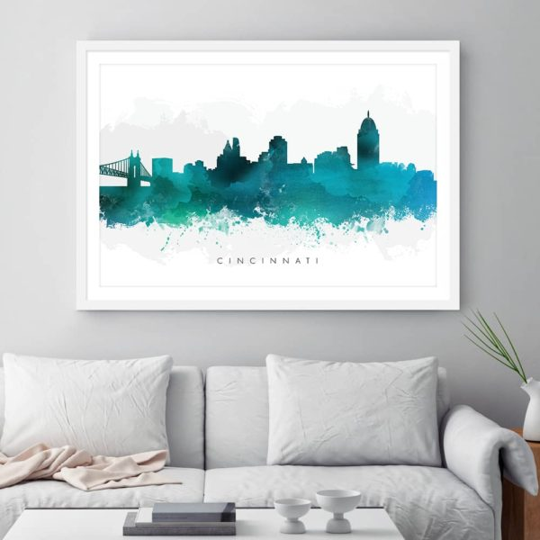 cincinnati skyline green watercolor print framed