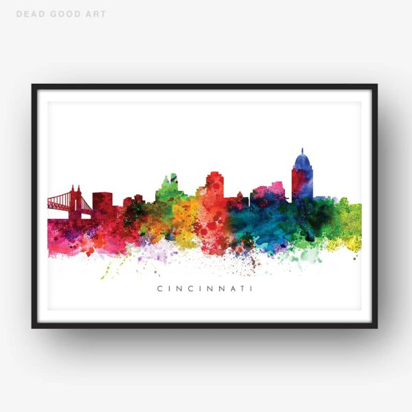 cincinnati skyline multi color watercolor print
