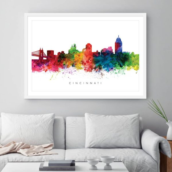 cincinnati skyline multi color watercolor print framed