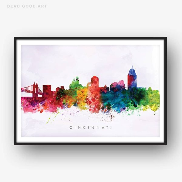 cincinnati skyline purple wash watercolor print