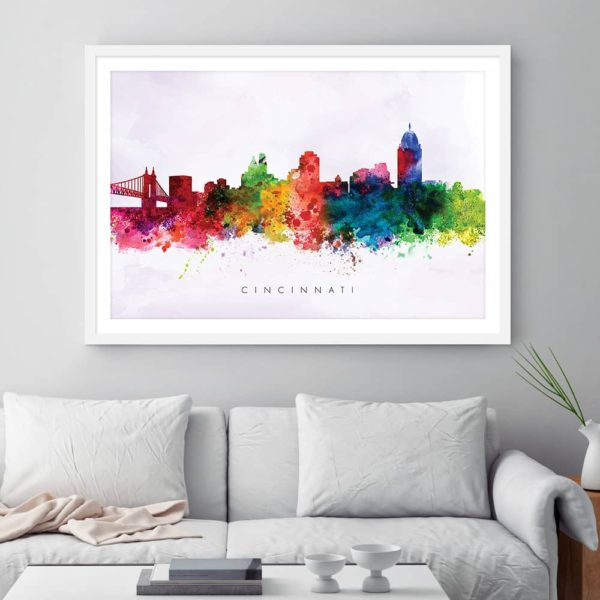 cincinnati skyline purple wash watercolor print framed