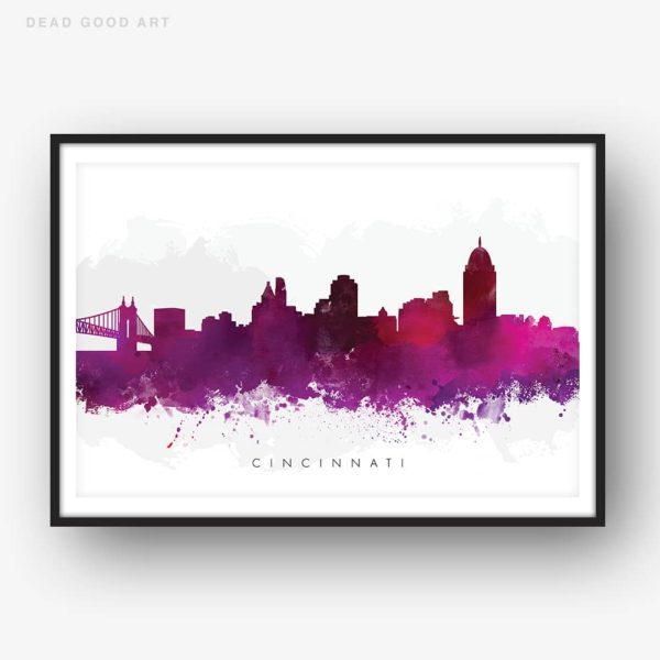 cincinnati skyline purple watercolor print