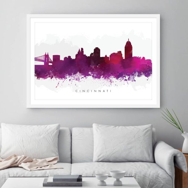 cincinnati skyline purple watercolor print framed